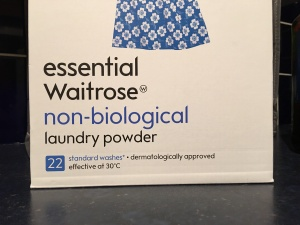 Essential Waitrose non-biological laundry powder. Produced in the UK.