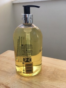 Baylis and Harding Sweet Mandarin and Grapefuit Cleasing Hand Wash. Made in the UK. Label view. Photograph by author.
