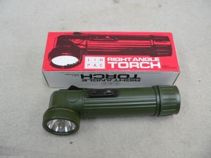 Linpac Right Angle Torch Drab Green Military Issue Torch. Made in England.