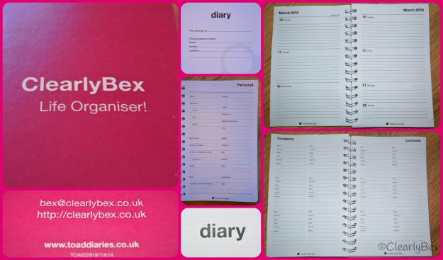 Photograpghs of an A5 Slim Diary, in Fuchsia, made by Toad Diaries for the Clearly Bex review mwnioned above. 1 week to 2 page view starting from January 2015 to run for 13 months.