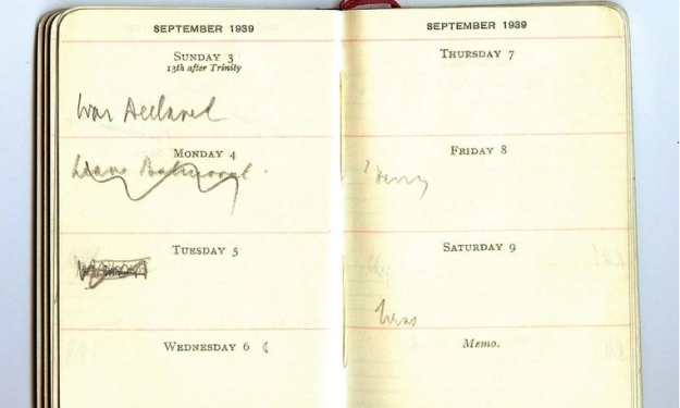 "War-time prime minister Neville Chamberlain's diary, Sunday start. He marked the start of World War II by writing ""War declared"" on 3rd September 1939."