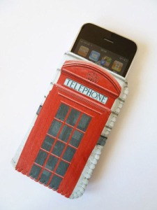 Crank telephone box phone case. Made in England.