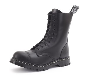 Gripfast 10 Eyelet Steel Toe Boot in Black. Made in England.