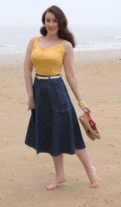 Freddies of Pinewood 1950s style Jeans Skirt. Made in England.