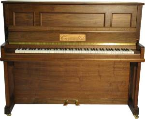 Cavendish Chatsworth 124 upright piano (walnut). Made in Britain.