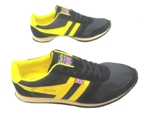 Gola Made In England 1905 Men's Flyer Black/yellow Retro Trainers.
