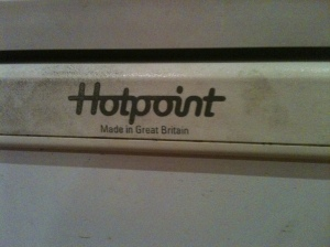 Maggie's old Hotpoint made in Great Britain refrigerator, still in full working order in August 2013. Sadly Hotpoint do not manufacture in the UK anymore.