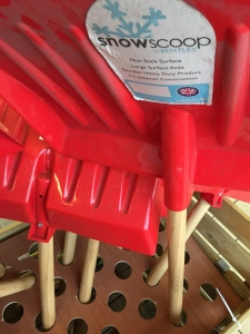 A Bentley Brushware snow scoop (snow shovel). Made in the UK. Photographed by author in Homebase in St Neots, 24 Jan 2016.
