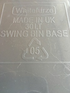 Whitefurze 30L Swing Top Bin - Silver. Made in the UK. Labelling on bottom of bin.