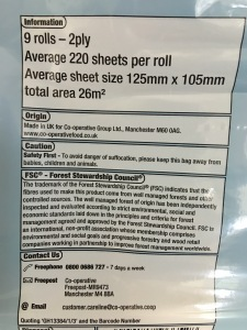 Co-op Soft White Bathroom Tissue. Made in the UK. Rear label view. Photograph by author.