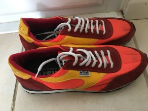 Walsh Lostock Orange/Yellow/Red trainers. Made in England. Photograph by author.