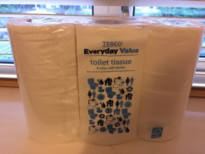 Tesco Everyday Value toilet tissue, 6 rolls, produced in the UK. Front of packaging view. Photograph by author.