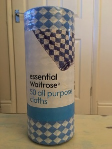 Waitrose essential 50 all purpose cloths. Produced in the UK. Front of packaging label view. Photograph by author.
