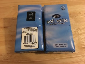 Boots Soft White pocket tissues, 4 ply tissues. Made in UK.