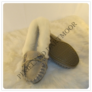Luxury 100% Sheepskin Moccasins with Wool Lining & Hard Sole - Made in the UK