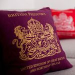 British Passport Cushion. Made in England.