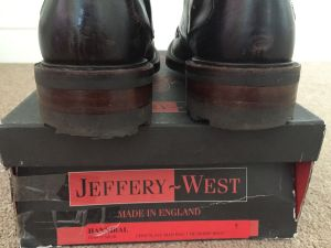 "A pair Jeffery West Hannibal Boots for sale on eBay. You can see the words ""Made in England"" on the box"