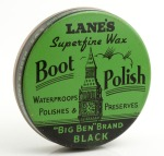 Lane's Big Ben Brand Black Boot Polish, War Time Pack, Circa 1940s WW2 by Lane Brothers Limited of South Lambeth, London, SW8. Made in England. The tin itself was manufactured at Metal Box Company's F. Atkins & Co. Ltd factory in Hull.