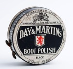 "Day & Martin's Boot Polish. Manufactured sometime between 1936 and 1941. ""British Made Throughout"""