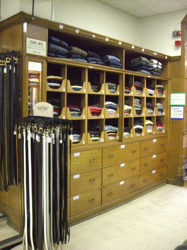 Shelves, drawers & Belts at Jacsons of Reading (menswear) May 2008