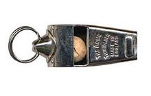 "The Acme Thunderer. The name ""Acme"" was taken from the Greek word ""acme"", meaning a high point, indicating that the whistle was a tool for producing a very high decibel level. Their Tornado 2000 whistle is capable of easily reaching 122 decibels."