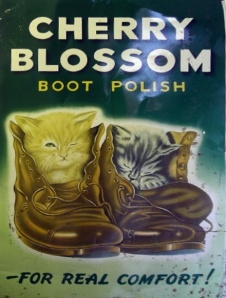 1930s British advertisement for Cherry Blossom boot polish.