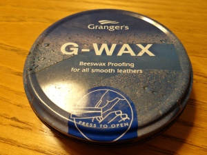 An older tin of Granger's G-Wax. Front view.