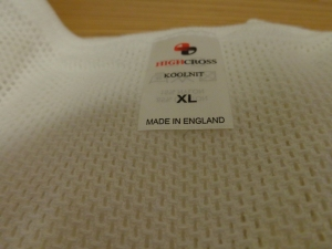 High Cross Koolnit cellular underwear. Made in the UK. Photograph by author. Label view.