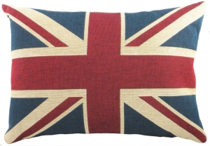 "Evans Lichfield Flags LB362 18""X13"" UNION JACK CUSHION. Belgian tapestry with cotton reverse. Manufactured in Great Britain."