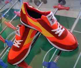 Walsh Lostock Orange/Yellow/Red trainers 25.11.12.  Made in England.