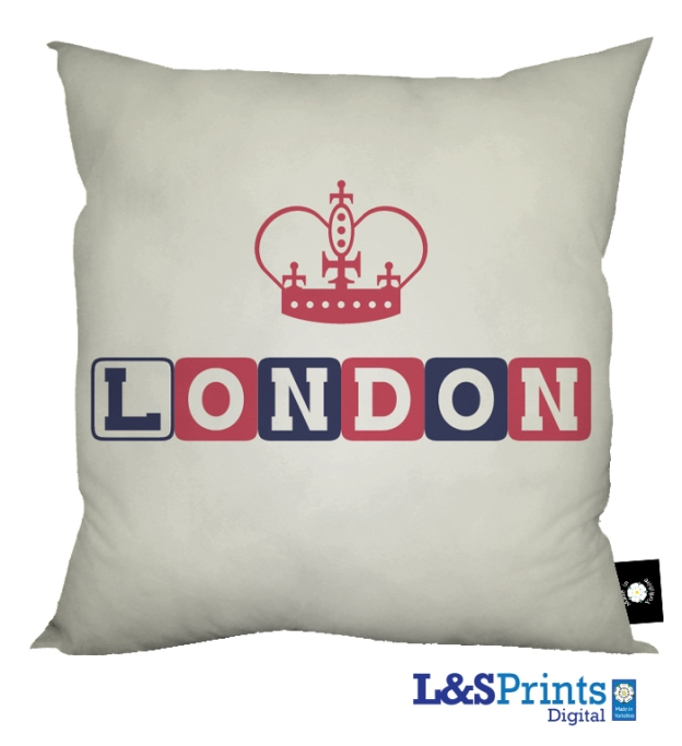 "London iconic places design cotton feel cushion. Made in Yorkshire and it says ""Made in Yorshire"" on the label bottom right."