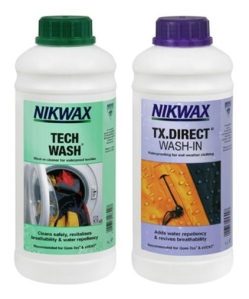 Nikwax Tech Wash and TX Direct Wash-In Waterproofing, 2 x 1 Litre. Made in Great Britain