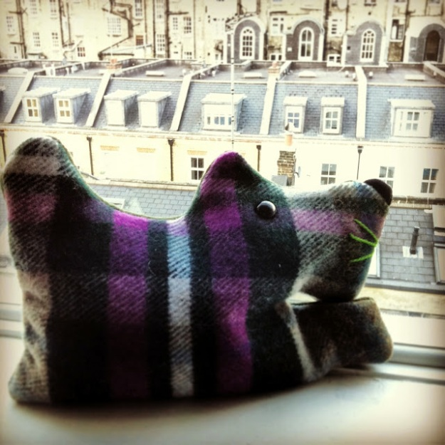 Hamish keeping an eye on London - handmade in the UK by Andrew Duncan Graham.  http://somewhereyonder.blogspot.co.uk/2013/06/my-sweet-smelling-lavender-pooch.html
