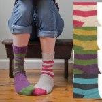 John Arbon Textiles stripy-socks-2012 - 54% UK Alpaca / 18% merino / 28% nylon