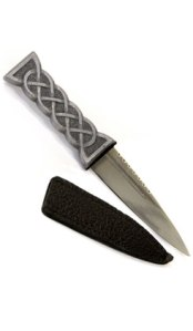 Hector Russell Sgian Dubh with leather scabbard. Made in Scotland.