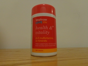 Waitrose Love Life Health and Vitality A-Z multivitamins and minerals. Made in the UK. Photograph by author.