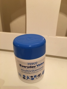 Tesco Everyday Value Multivitamins. Produced in the UK.