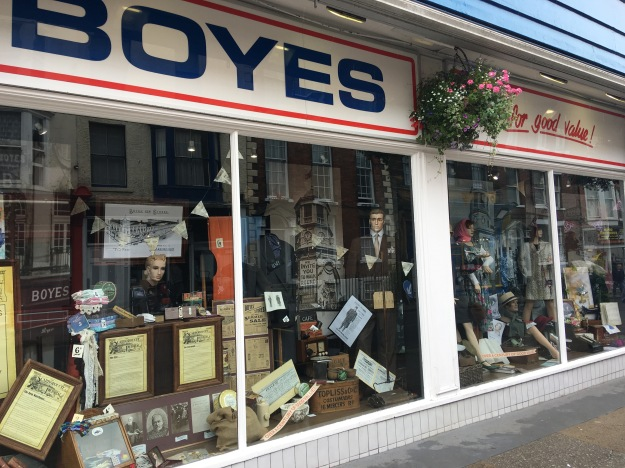 Boyes Scarborough through the ages window display July 2016.