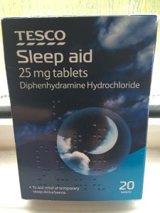 Tesco diphenhydramine hydrochloride sleep aid tablets. Produced in the UK. Photograph by author.