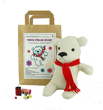 Sock Polar Bear Craft Kit by Sock Creatures.  Sourced in the UK and assembled in Cornwall.  @notonthehighstreet.com