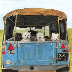 J Salmon Westies in Land Rover greetings card. 6 1/4ʺ x 6 1/4ʺ (160mm x 160mm). Envelope included.