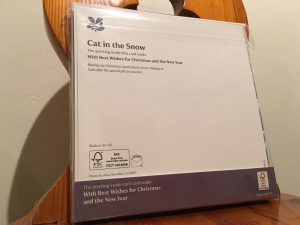 National Trust British Short Hair cat in the snow Christmas Cards 2015. Made in the UK. Rear of packaging view.