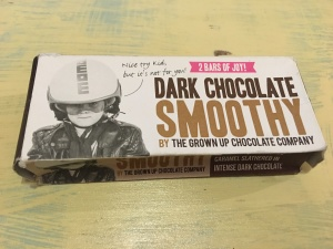 The Grown Up Chocolate Company Dark Chocolate Smoothy. Made in the UK. Front of box view.
