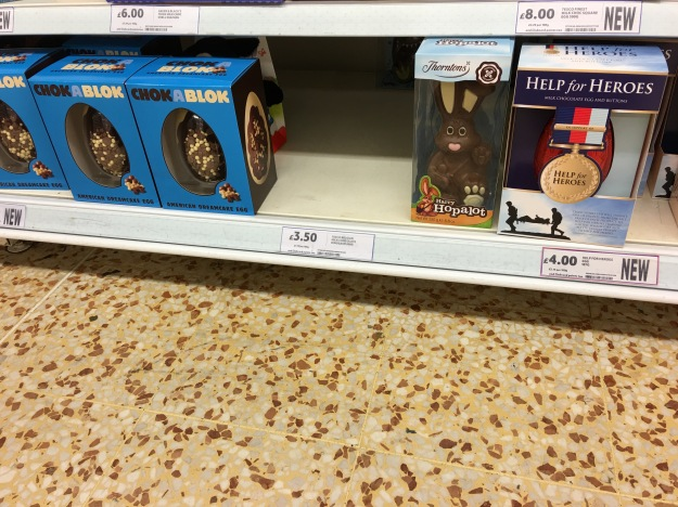 CHOKABLOCK Easter Egg by made in the UK County Confectionery (left), Thorntons Easter Bunny made in the UK (centre) and a made in the UK Help for Heroes Easter Egg in Tesco Flitwick 13/3/16