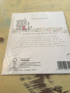 A blank greetings card from Waitrose which was made in the UK. Photograph by author. Rear of packaging label view of the above card.