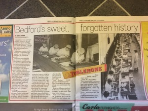 An article about the former Peek Frean / Meltis Toblerone factory in Bedford in the Bedfordshire on Sunday newspaper 13 November 2016.