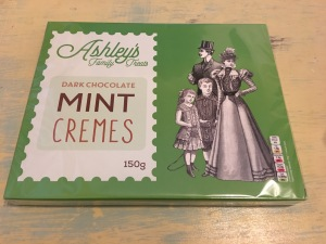 Ashley's Family Treats Dark Chocolate Mint Cremes 150g. Produced in the UK. Photograph by author.