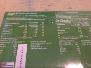 Ashley's Family Treats Dark Chocolate Mint Cremes 150g. Produced in the UK. Rear of packaging label detail. Photograph by author.