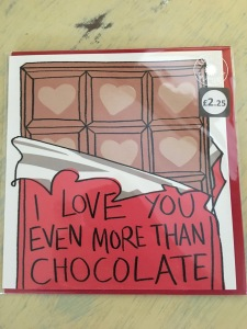 Lucilla Lavender I love you even more than chocolate Valentines card (2017). Printed in the UK. Phtograph by author. Front view.