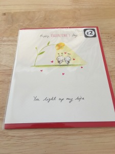 Paperlink Jam Jar you light up my life Valentines card (2017). Printed in England. Photograph by author. Rear of card label view.